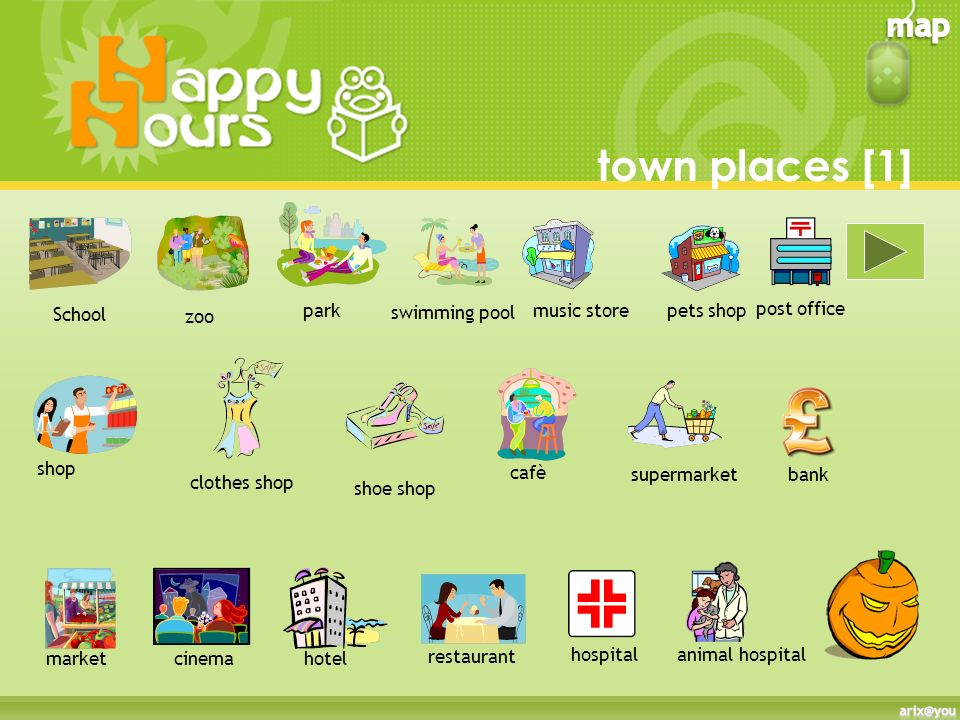 town places [1] School park swimming pool music store pets shop